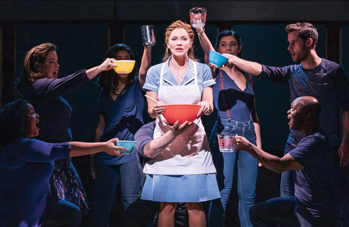 Katharine McPhee and cast in Waitress at Adelphi Theatre. Photo: Johan Persson