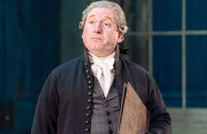 Adrian Scarborough in The Madness of George III at Nottingham Playhouse. Photo: Manuel Harlan