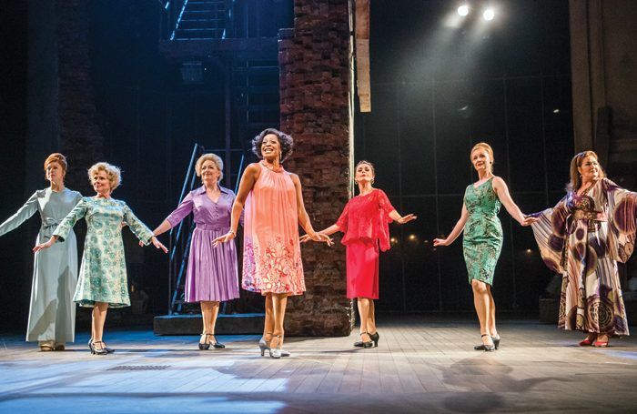 The cast of Follies at the National Theatre in 2017: the older actors are haunted throughout the show by their younger selves. Photo: Tristram Kenton