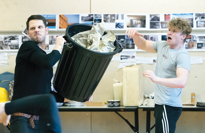 Alastair Natkiel and Darragh Cowley in rehearsals for Standing at the Sky's Edge. Photo: Johan Persson
