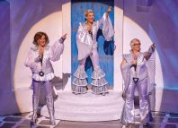 Kate Graham, Sara Poyzer and Ricky Butt in Mamma Mia! at the Novello Theatre, London