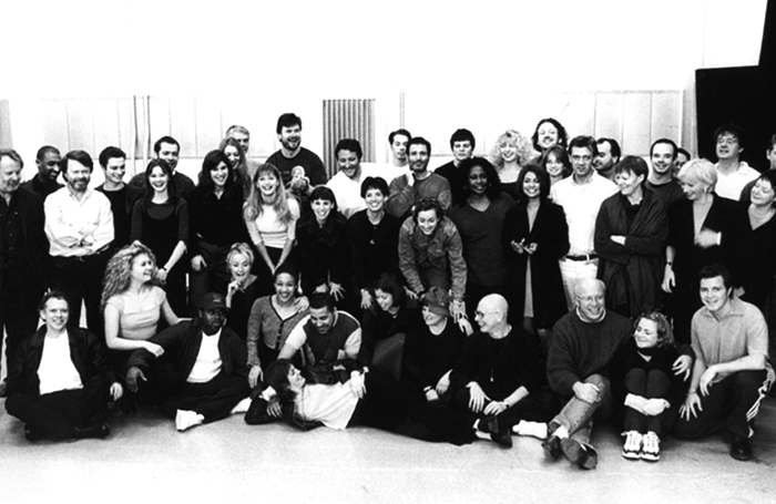 The original cast of Mamma Mia! in rehearsals