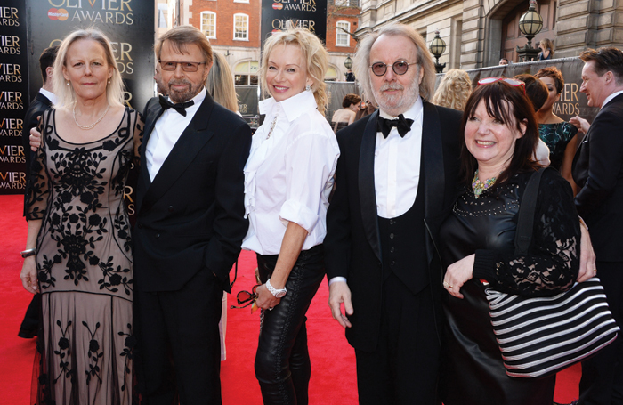 From left: Phyllida Lloyd, Bjorn Ulvaeus, Judy Craymer, Benny Andersson and Catherine Johnson at the Olivier Awards in 2014. Photo: David Benett