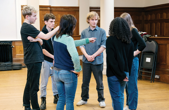 Miller (centre) and the cast in rehearsals for The Crucible. Photo: Helen Murray