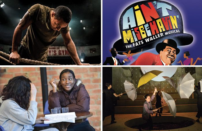 Clockwise from top left: Glory (photo by Andrew Billington), Ain't Misbehavin', Under the Umbrella (photo by Robert Day) and What Fatima Did were all staged as part of Tamasha's Ignite programme that supports young black, Asian, and minority ethnic producers.