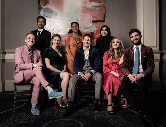 Last year's The Stage debut awards winners. Back row: Akshay Sharan (best actor in a play), Amara Okereke (best actress in a musical) and Khadija Raza (best designer). Front: Gus Gowland (best composer), Katy Rudd (best director), Louis Gaunt (best actor in a musical), Gemma Dobson (best actress in a play) and Andrew Thompson (best writer). Photo: Alex Brenner
