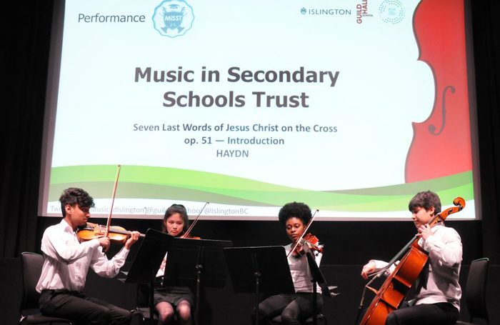 The Music in Secondary Schools Trust Saturday School Quartet performing at the launch