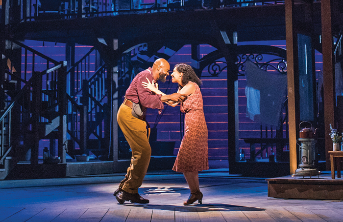 Eric Greene and Nicole Cabell in ENO's Porgy and Bess at London Coliseum in 2019 – lit by Hudson. Photo: Tristram Kenton