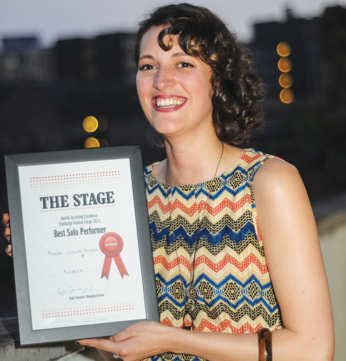 Phoebe Waller-Bridge with The Stage Edinburgh Award for Fleabag in 2013. Photo: Stephanie Methven
