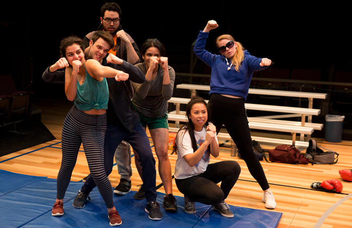 The cast of How to Defend Yourself at Humana Festival, 2019. Photo: Crystal Ludwick