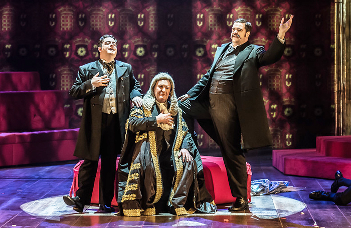 Ben Johnson, Andrew Shore and Ben McAteer in Iolanthe in 2018. Photo: Tristram Kenton