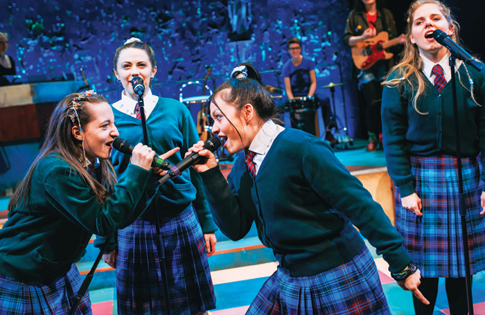 Kirsty MacLaren, Melissa Allan and Frances Mayli McCann in Our Ladies of Perpetual Succour at Traverse Theatre in 2015 – a National Theatre of Scotland production. Photo: Mihaela Bodlovic