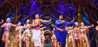 Matthew Croke, Trevor Dion Nicholas and cast in Aladdin, one of the West End's most widely diverse musicals, at the Prince Edward Theatre. Photo: Deen van Meer/Disney