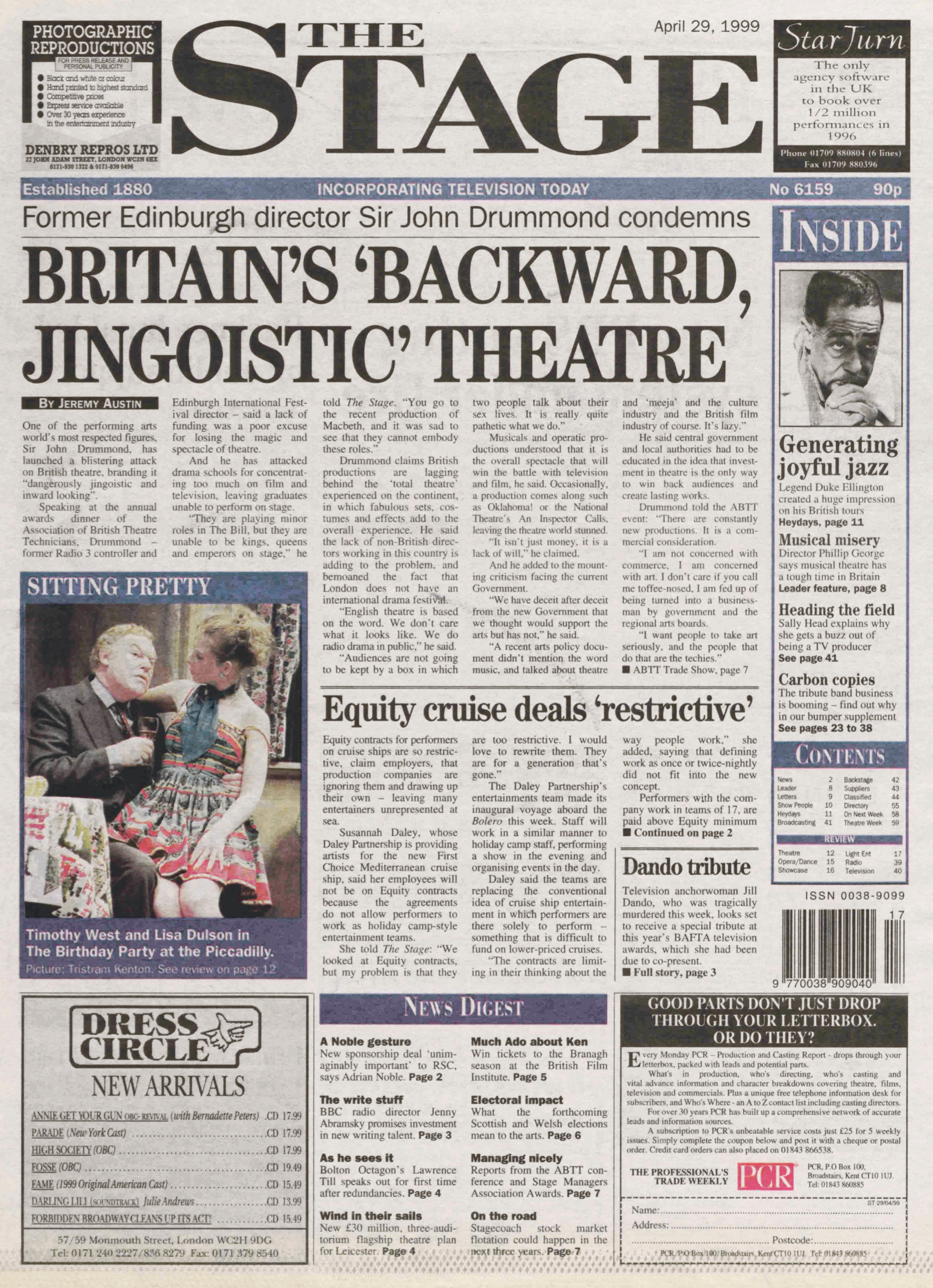 Archive | 20 years ago in The Stage April 29, 1999