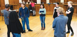 The Cast of The Crucible in rehearsals. Photo: Helen Murray