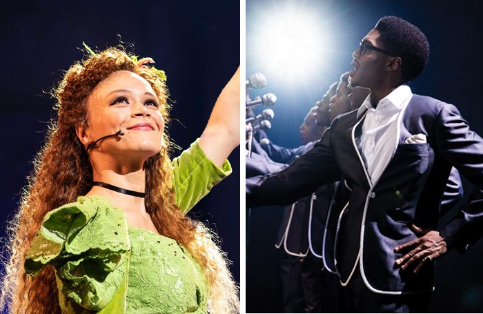 Amber Gray in Hadestown and the cast of Ain't Too Proud. Photos: Helen Maybanks/Matthew Murphy