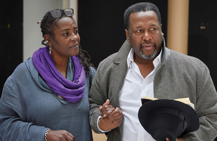 Wendell Pierce rehearses for Death of a Salesman with Sharon D Clarke