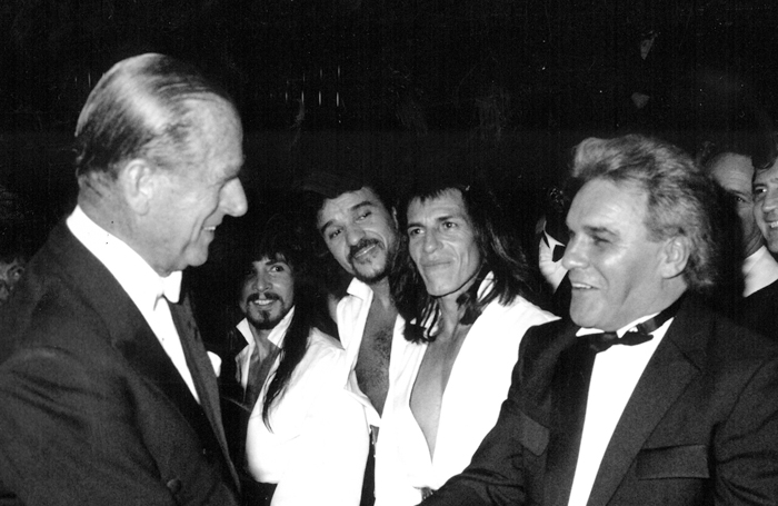 Freddie Starr meeting Prince Philip at the Royal Variety performance in 1989. Photo: Doug McKenzie