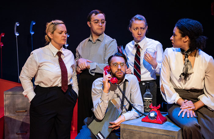 The cast of Operation Mincemeat at the New Diorama Theatre, London. Photo: Alex Harvey-Brown