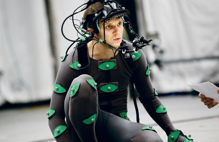 Advances in digital technology in theatre have included motion-capture technology in the RSC's The Tempest, 2016. Photo: Gramafilm