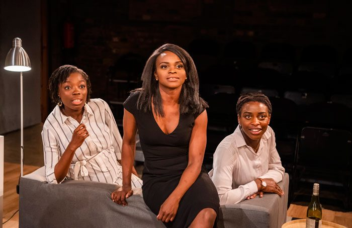 Estella Daniels, Kemi Durosinmi and Elizabeth Ita in Hoard at the Arcola Theatre, London. Photo: Tristram Kenton