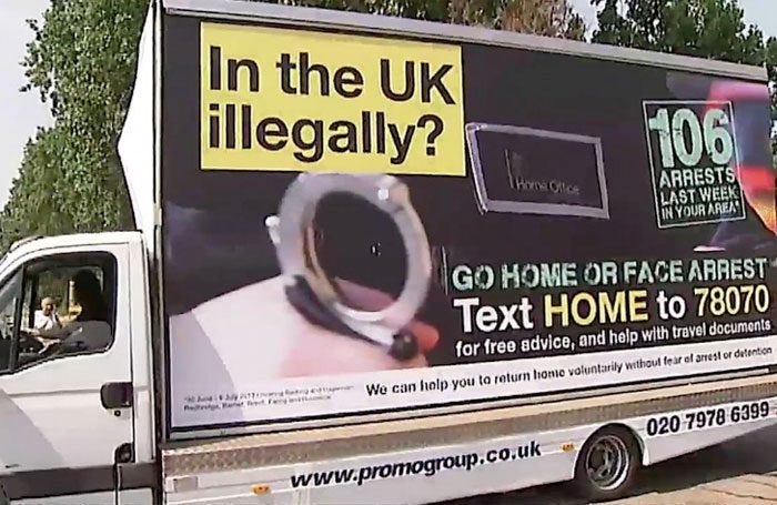 These 'go home' vans were part of a controversial advertising campaign by the Home office in 2013