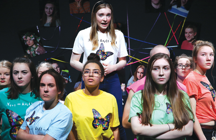 Stagedoor Learning students performing Laura Lomas' Chaos at the Everyman Theatre, Cheltenham, this year. Photo: Neil Smith