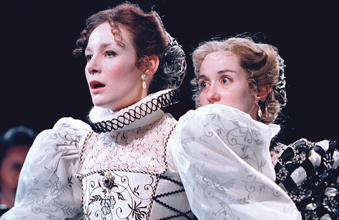 Carroll with Alexandra Gilbreath in As You Like It at the Royal Shakespeare Theatre in 2000. Photo: Tristram Kenton