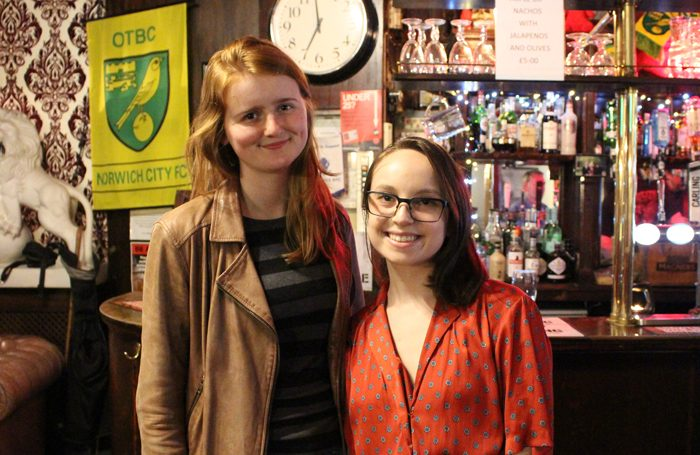 Jessica Bickel-Barlow and Olivia Munk in the Old Red Lion