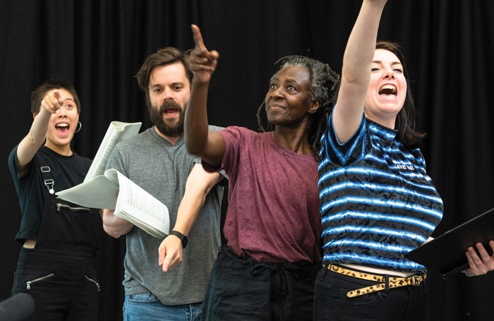 Zachary Hing, Ross Mann, Rosina Bonsu and associate director Eve Nicol in rehearsals for Them!. Photo: Tommy Ga Ken Wan
