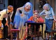 Geoffrey Streatfeild, Emma Naomi, Jennifer Saunders and Lisa Dillon in Blithe Spirit. Photo: Nobby Clark
