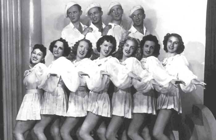 The Whizz Bangs' concert party. Christina is third from the right on the front row