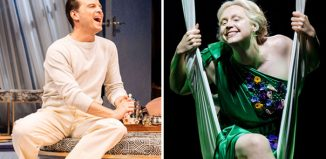 Andrew Scott in Present Laughter and Gwendoline Christie in A Midsummer Night's Dream. Photos: Manuel Harlan