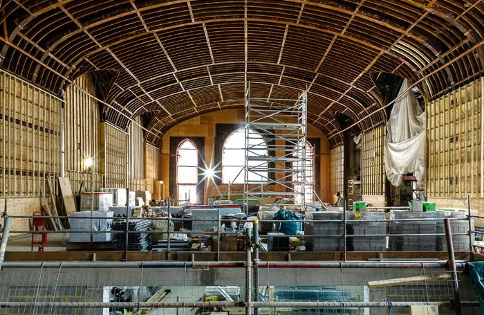 Work being done inside the Brighton Dome Corn Exchange
