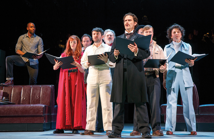 Steven Pasquale and the cast of Assassins at New York City Center. Photo: Joan Marcus
