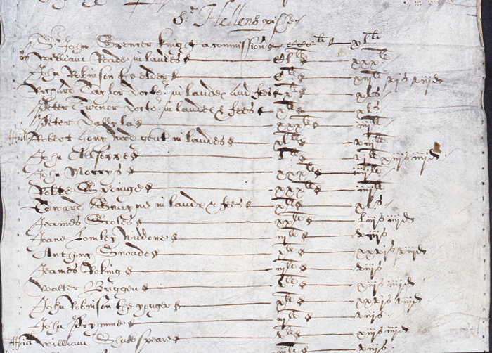 London tax commissioner document listing Shakespeare among the tax defaulters