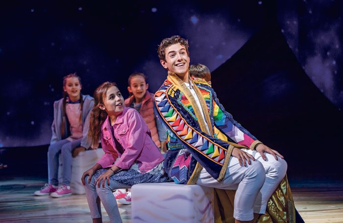 Jac Yarrow and the company of Joseph and the Amazing Technicolor Dreamcoat at London Palladium. Photo: Tristram Kenton