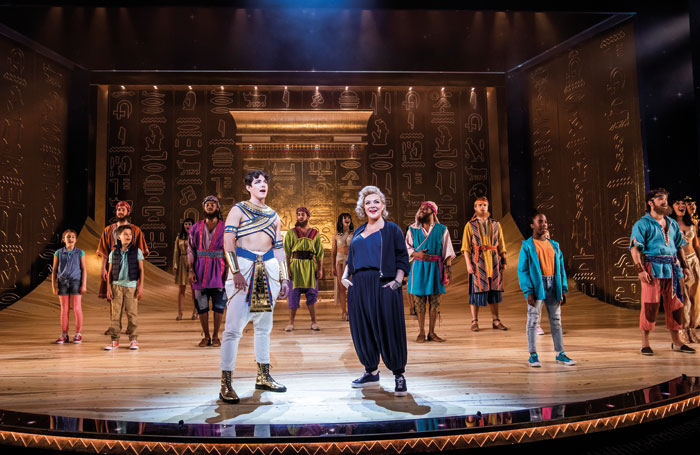 Jac Yarrow, Sheridan Smith and the company of Joseph and the Amazing Technicolor Dreamcoat at London Palladium. Photo: Tristram Kenton
