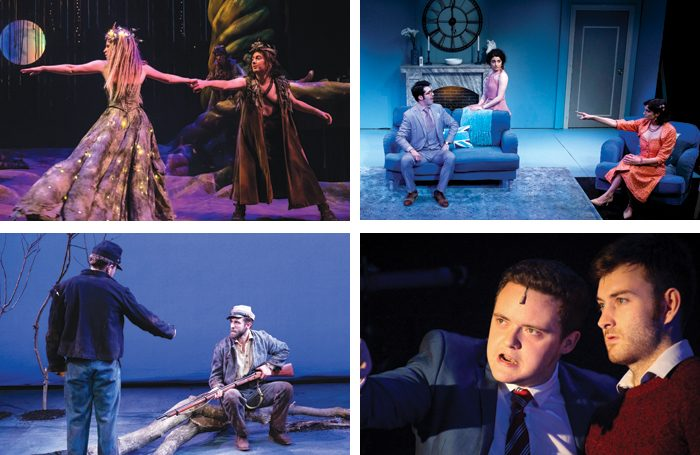 Top left: AMTA students in Legally Blonde. Top right and bottom left: students at Pace University. Bottom right: students at the University of Minnesota/ Photos: Scott Wynn/Dan Norman