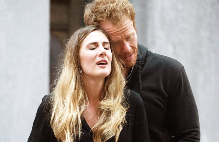 Sydney Mancasola and Duncan Rock in rehearsals for Breaking the Waves. Photo: Julie Howden