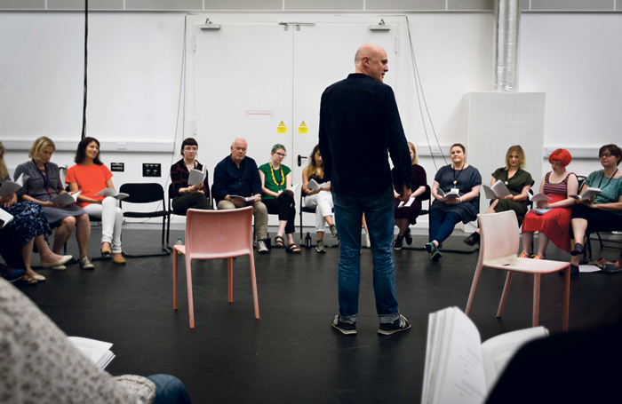 Tim Crouch in rehearsal for Total Immediate Collective Imminent Terrestrial Salvation. Photo: Eoin Carey