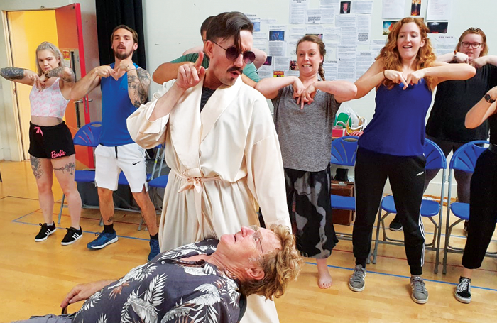 The cast in rehearsals for Jerry Springer the Opera. Photo: Kai Jolley