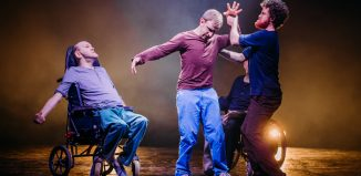 """Purposeless Movement by Robert Softley Gale – a dance theatre piece specifically written for four men with cerebral palsy. """" 20% of actors have disabilities says Dorothy Laity. Photo: Mihaela Bodlovic"""
