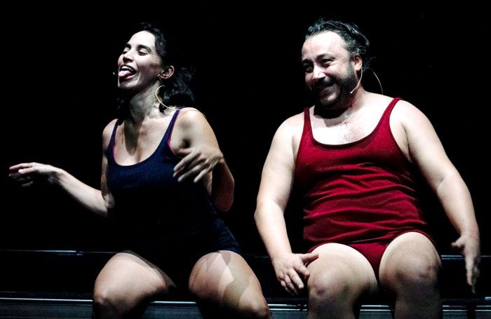 Silvia Gallerano and Stefano Cenci in Happy Hour at Pleasance Dome, Edinburgh. Photo: Molly Bloom