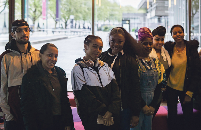 Black Ticket Project participants after a performance of Nine Night at the National Theatre in 2018. Photo: Samuel Conley and SoundSkool