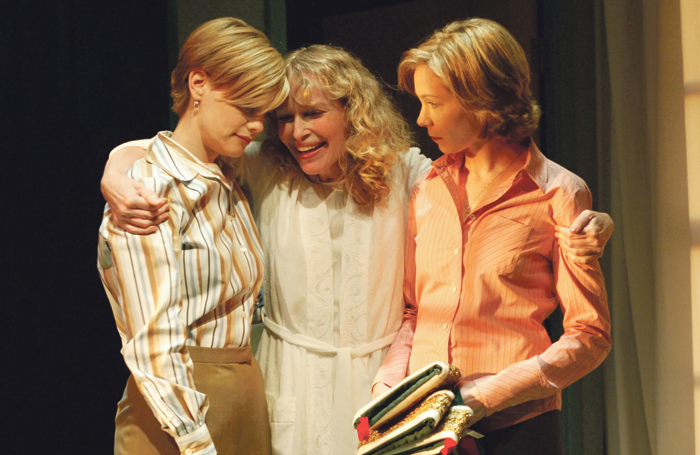 Preston (right) with Kellie Overbey and Mia Farrow in Fran's Bed at Long Wharf Theatre, New Haven (2003). Photo: T Charles Erickson