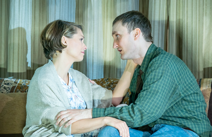 MyAnna Buring and Tom Brooke in A Very Expensive Poison at the Old Vic. Photo: Marc Brenner