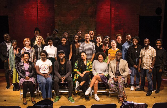 All the cast and creatives involved in the Global Voices Theatre event. Photo: Wasi Daniju