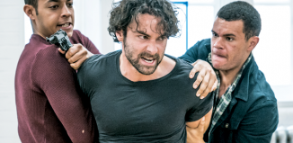 Daryl McCormack, Aidan Turner and Julian Moore-Cook in rehearsals for Michael Grandage's production of The Lieutenant of Inishmore (2018). The director is said to require actors to be off-book from day one. Photo: Marc Brenner