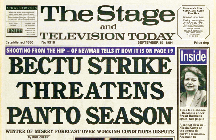 Strikes threaten panto season, but Broadway gets a World Cup boost – 25 years ago in The Stage
